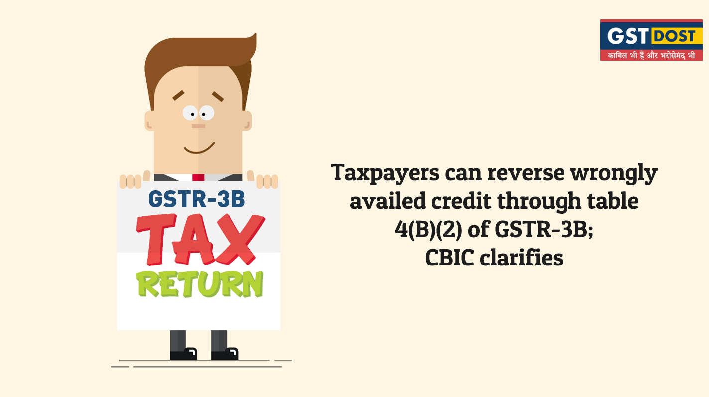Taxpayers can reverse wrongly availed credit through table 4(B)(2) of GSTR-3B;  CBIC clarifies