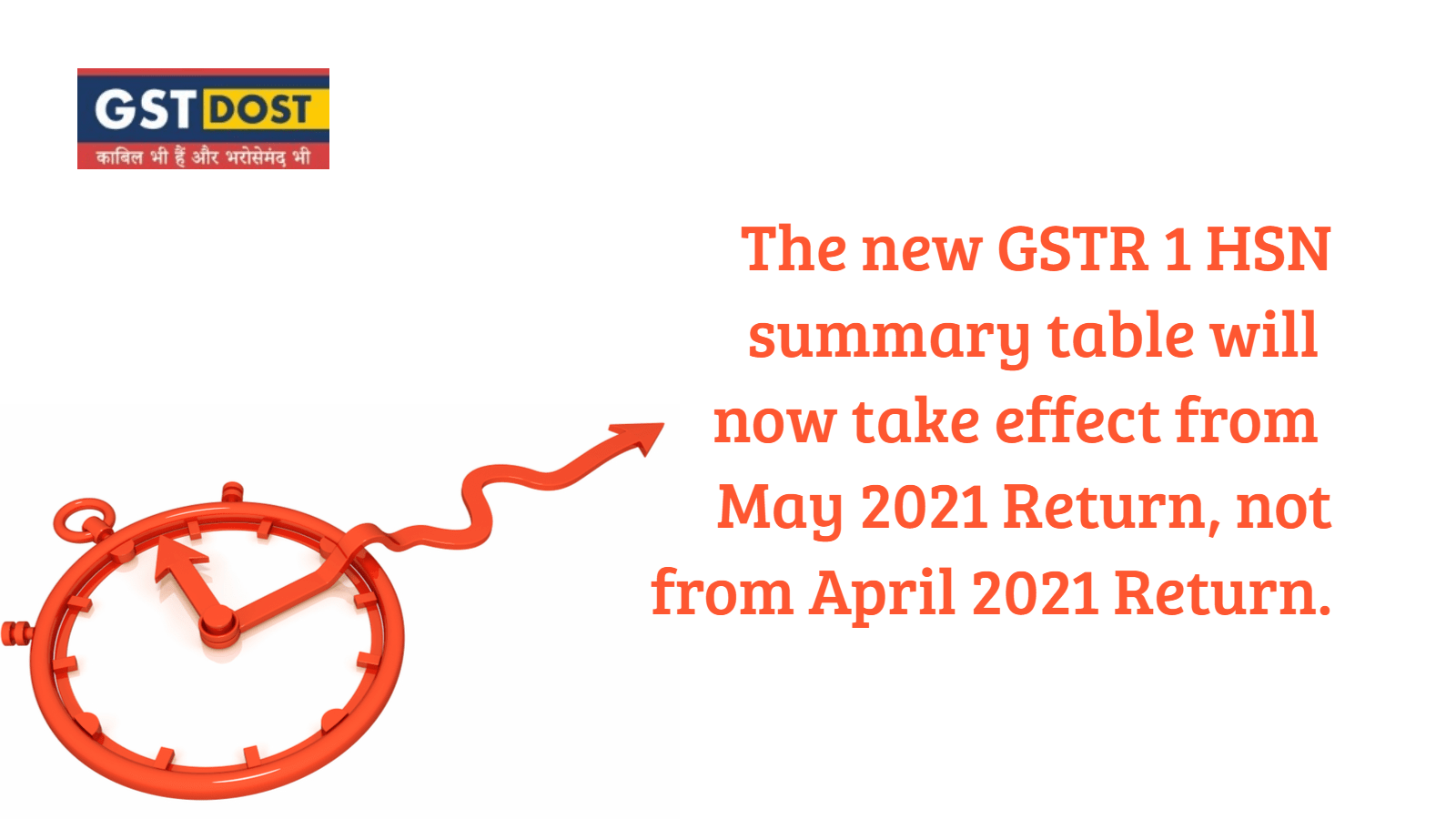 The new GSTR 1 HSN summary table will now take effect from May'21 Return, not from April'21 return.